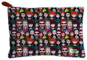 Techbyte Canvas Multipurpose Zipper Pouch Cosmetic Bag Travel Case For Girls & Women and Gift Purpose (Cartoon faces, Multicolor)