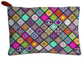 Techbyte Poly-Cotton Printed Multipurpose Zipper Pouch Cosmetic Bag Travel Case For Girls & Women and Gift Purpose (Multicolor, ethnic Print)