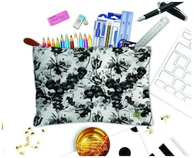 Techbyte Poly-Cotton Printed Multipurpose Zipper Pouch Cosmetic Bag Travel Case For Girls & Women and Gift Purpose (Black & White, Floral Print)