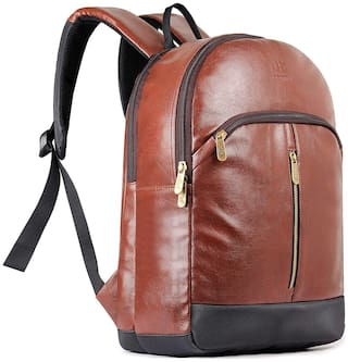 The Clownfish Herculean 27 Liter Faux Leather Chestnut Brown Laptop Backpacks for 15.6 inch Laptops Laptop Backpack