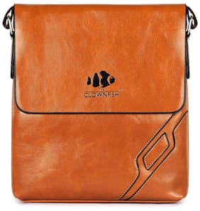 5b31e16ec214 The Clownfish Faux Leather Men Sling Bag - Brown