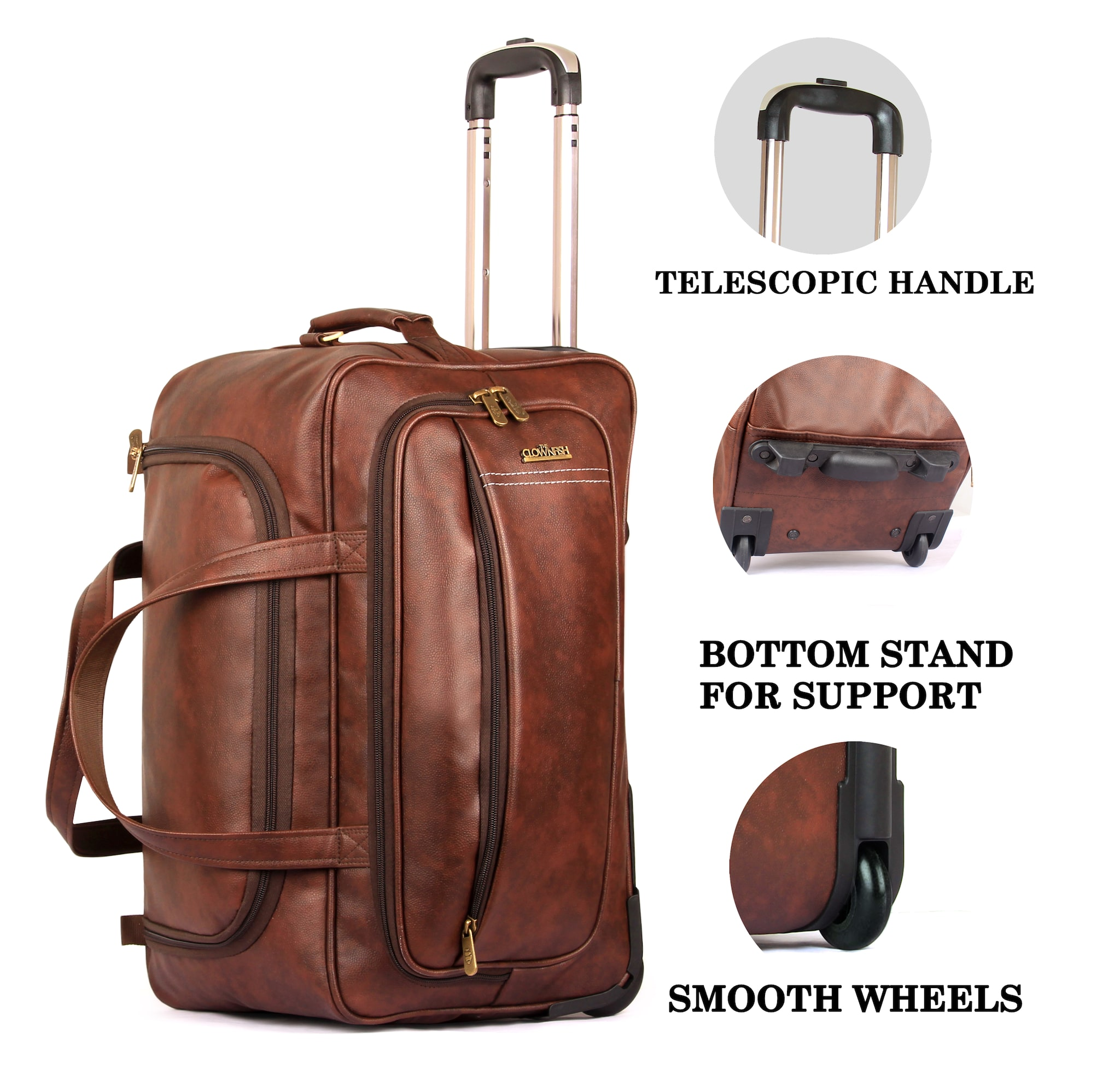 7fb703670637 Buy The Clownfish Marquess 49 liters Faux Leather Travel Duffel Trolley (  Cinnamon) Online at Low Prices in India - Paytmmall.com