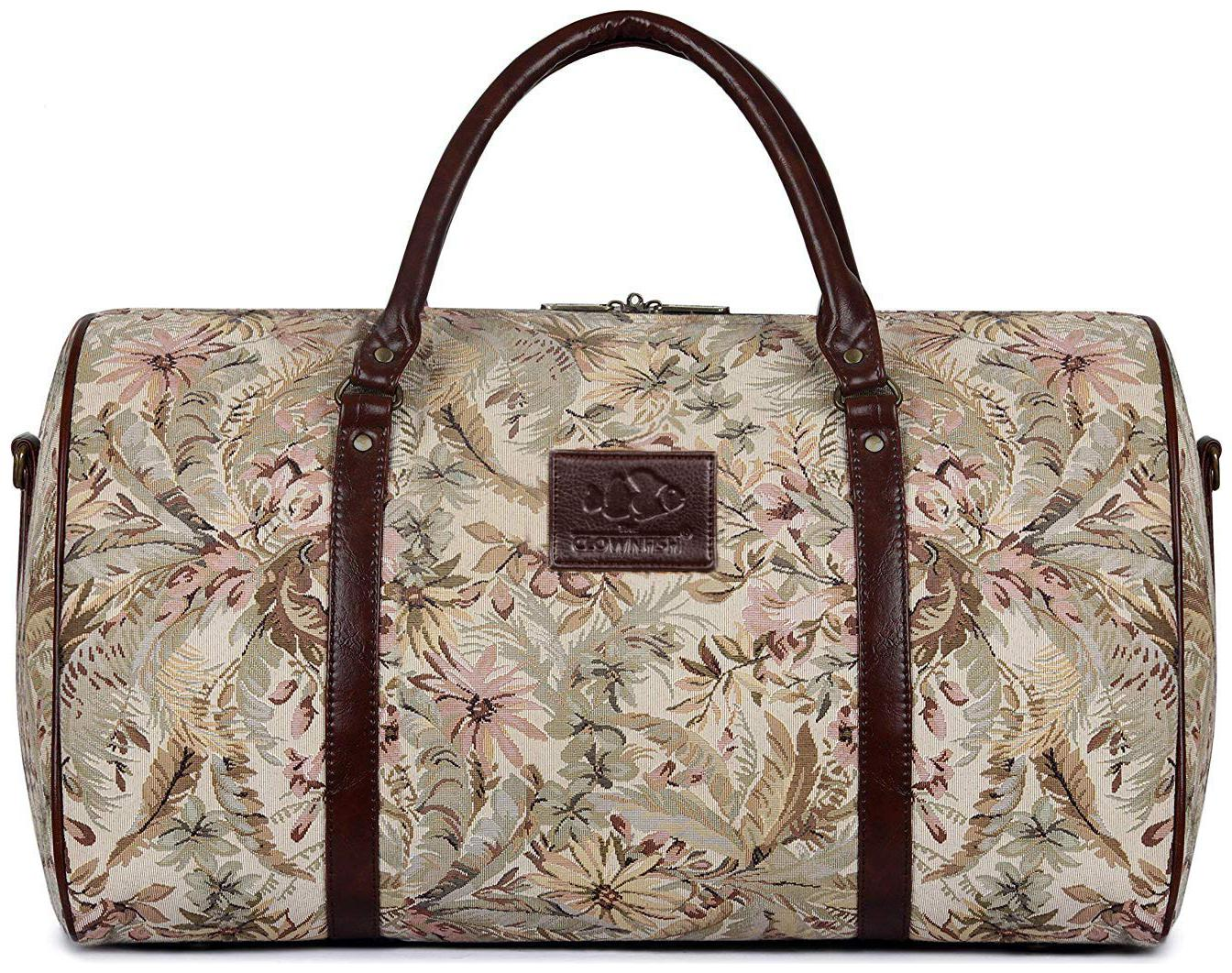 The Clownfish Forest 40 litres Tapestry Fabric Beige Travel Duffle Bag Men Travel Duffel Bag Luggage Daffel Bags Air Bags Luggage Bag Travelling Bag b