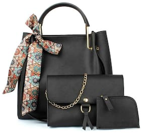 The Mini NEEDLE Black PU Shoulder Bag - TMN Combo Black of Ribbon Handbag