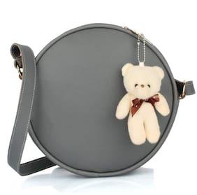 The Mini NEEDLE Grey PU Solid Sling Bag