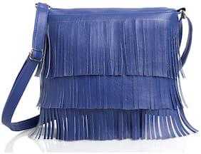The Mini NEEDLE Blue PU Solid Sling Bag