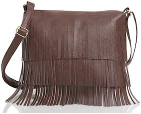 The Mini NEEDLE Tan PU Solid Sling Bag