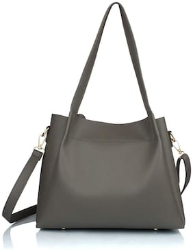 The Mini NEEDLE Grey PU Shoulder Bag