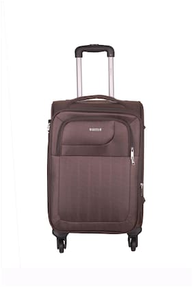TIMES BAGS Cabin Size Soft Luggage Bag ( Brown , 4 Wheels )