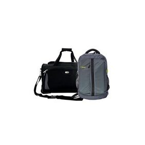 TIMUS MOROCCO PLUS 55 CM BLACK WHEEL DUFFLE & GREY EXPERT LAPTOP BACKPACK TRAVEL LUGGAGE COMBO