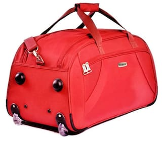 fdb3caa3c5 TIMUS SAMPRASS RED 2 WHEEL DUFFLE TROLLEY BAG FOR TRAVEL (CHECK IN -MEDIUM  LUGGAGE