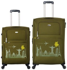Timus SALSA Military Green  65 & 75 CM 4 Wheel Trolley Suitcase For Travel Set of 2 (Check-in Luggage)