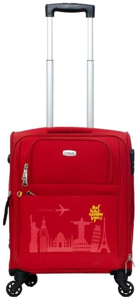 TIMUS Cabin Size Soft Luggage Bag - Red , 4 Wheels