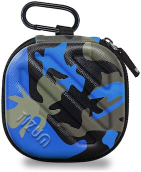 TIZUM Earphone Carrying Case - Multi Purpose Pocket Storage Travel Organizer for Headphone, Pen Drives, Memory Card, Cable (Camouflage Blue)