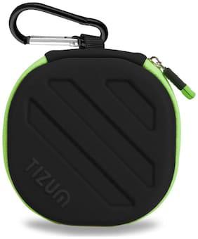 TIZUM Earphone Carrying Case - Multi Purpose Pocket Storage Case for Headphone, Pen Drives, Memory Card, Data Cable (Black)