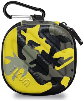 TIZUM Earphone Carrying Case - Multi Purpose Pocket Storage Travel Organizer for Headphone, Pen Drives, Memory Card, Cable (Camouflage Yellow)