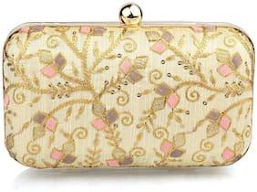 The Mini NEEDLE Women Gold Fabric Clutch
