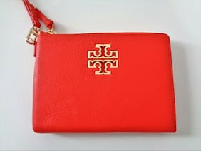 Tory Burch Spiced Orange  Britten large zip pouch ~ pebbled leather ~ limited