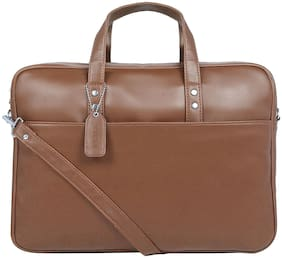 Toteteca Bag Works Tan Faux Leather Laptop Briefcase