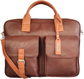 Toteteca Bag Works Brown Faux Leather Laptop Briefcase