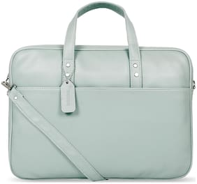 Toteteca Bag Works Green Faux Leather Laptop Briefcase
