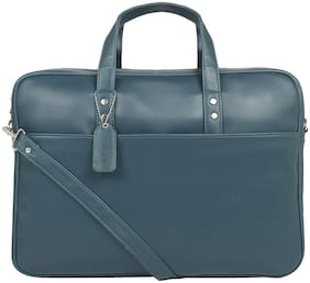Toteteca Bag Works Blue Faux Leather Laptop Briefcase