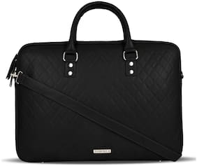 Toteteca Bag Works Black Faux Leather Laptop Briefcase