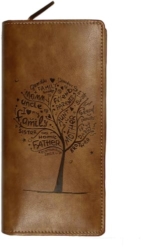 Tree. RFID Safe Passport Wallet- 8 Slots, Passport Cover For 6 Passport, 1 Currency Holder Pocket,1 Boarding Pass Pocket