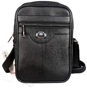 Trendy Dukaan Black Pu & Leather Sling bag & Messenger bag