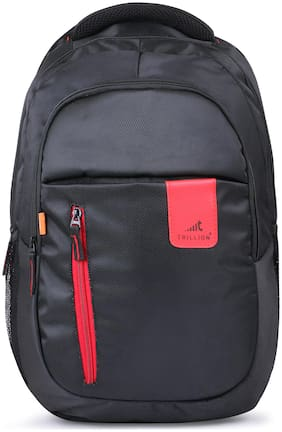 TRILLION Black Waterproof Polyester Backpack