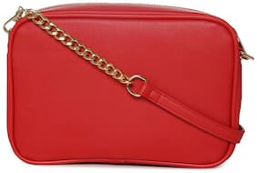 Truffle Collection Red PU Solid Sling Bag
