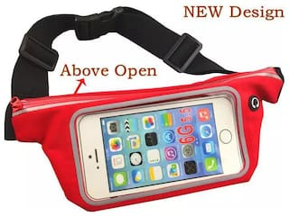 Unisex Slim Waist Pouch/Waist Bag For Gym/Running/Cycling/Hiking/Climbing or Travelling Purpose (RED COLOR)