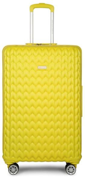 United Colors Of Benetton Large Size Hard Luggage Bag ( Yellow , 4 Wheels )