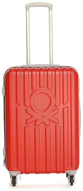 United Colors Of Benetton Cabin Size Hard Luggage Bag ( Red , 4 Wheels )