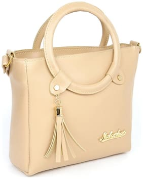 V2 Beige Faux Leather Handheld Bag