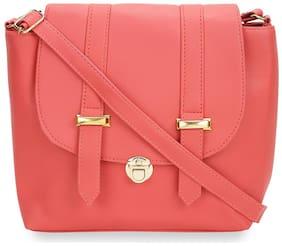 V2 Pink PU Solid Sling Bag