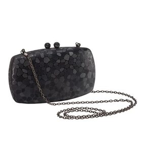 Vajero Black Textured Shiny Box Clutch with Detachable Sling