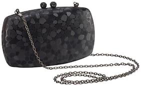 Vajero Black Textured Shiny Box Clutch with Detachable Sling