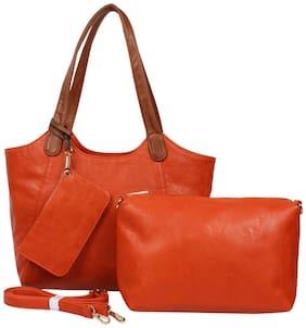 VAJERO Orange Faux Leather Handheld Bag