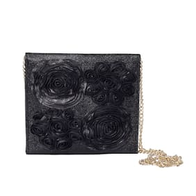 Vdesi Women Solid Faux Leather - Clutch Black