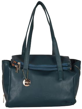 Venicce Green Faux Leather Handheld Bag