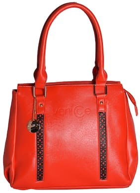Venicce Red Faux Leather Handheld Bag