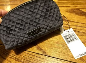 Vera Bradley Iconic Small Clamshell Cosmetic Bag Velvet ZIP Case Navy NWT $34