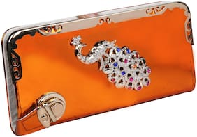 VHPQ Women Orange Canvas Wallet