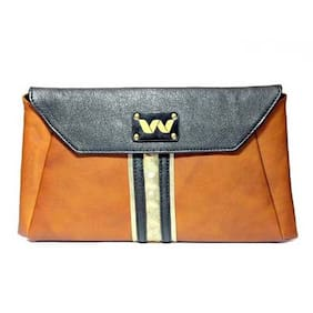 Vickiana Women Solid Leather - Clutch Brown