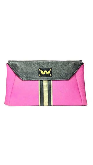 Vickiana Women Solid Leather - Clutch Pink