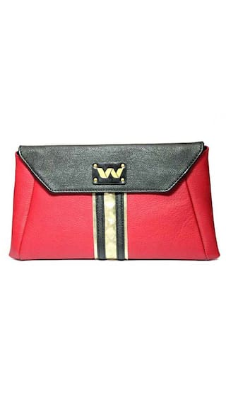 Vickiana Women Solid Leather - Clutch Red