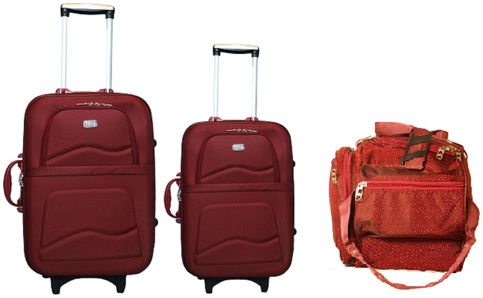 VIDHI Men's and Women's Fiber Fabric Maroon 20 inch Cabin Suitcase Trolley, 24 inch Check in Suitcase Trolley Bag and 18 inch Duffle Bag Combo   Pack