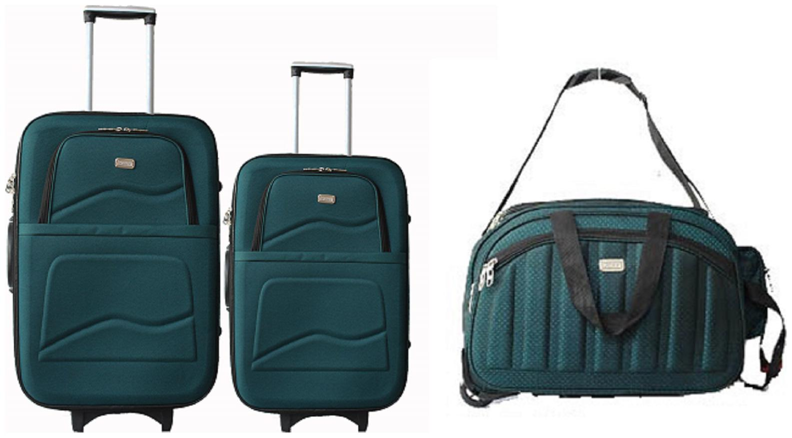 VIDHI Turquoise Luggage Combo Set pack of 3  20 inch Cabin, 24 inch Check in Suitcase Trolley Bag and 18 inch Expandable and Foldable Duffel Bag