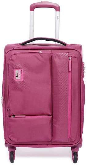 VIP Cabin Size Soft Luggage Bag ( Pink , 4 Wheels )